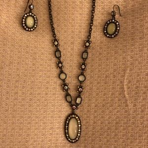 Gorgeous Antique Style Beaded Pendant w/Earrings
